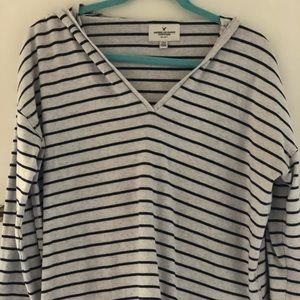American Eagle Striped V-neck Sweatshirt